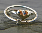 Silver stacking ring SET, silver arrow and heart ring, silver band thumg ring, women's jewelry