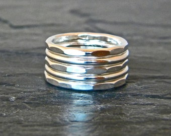 Minimalist Silver Rings - Stacking Ring Set - Large Ring - Big Silver Ring - Hammered Stacking Rings - Thick Silver Rings - Ring Size 6 - 14