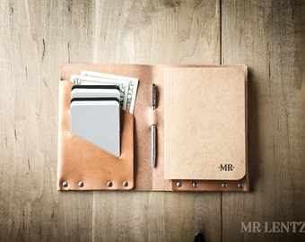 Leather Notebook Cover and Pen, Leather Travel Notes, Pocket Leather notebook, Large Leather Book Cover 024