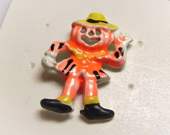 Vintage Halloween Pumpkin Man Tack Pin Painted Enamel Metal - Jack-O-Lantern Jewelry