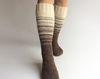 Knee Socks EU size 37.5-39 - High Hand Knitted Striped Socks - 100% Natural Organic Undyed Wool - Warm Autumn Winter Clothing