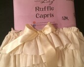 Ladies capri leggings - ruffle & bow - ivory, black, brown, gray
