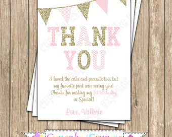 Thank You card coral pink gold One First Birthday girl  PRINTABLE Thank You card chevron polka dot glitter 1st birthday - 1030