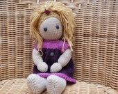 This doll is a private listing and RESERVED FOR ANGELINA Hand Knitted Doll. Soft Merino Wool Doll. lambs wool filling.  Knitted Dress