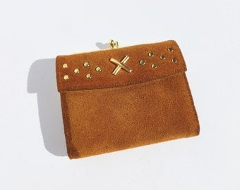 Kisslock Suede Wallet by Baronet Womens Boho Accessory