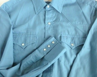 Men's Blue Western Shirt with Pearl Snap Buttons Size Large Ranching Out by Michael Barry