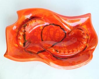 California Originals Ashtray Orange Drip Glaze Ceramic Pottery Mid Century Mod Decor