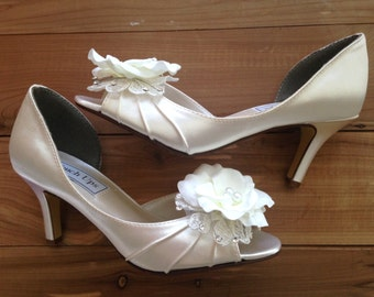 SALE Wedding shoes peep toe low heel high heel bridal shoes with ivory lace, white silk flower, crystals and pearls - Ready to Ship Size 5