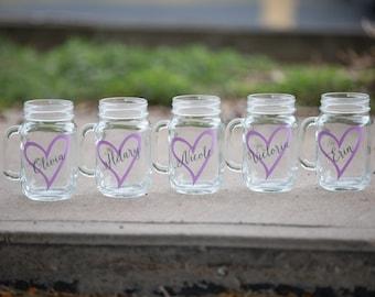 Bridesmaid gift mason jar glass. Mason jar for wedding party gift. Heart and name included. Barn wedding decor, Rustic wedding bridesmaids