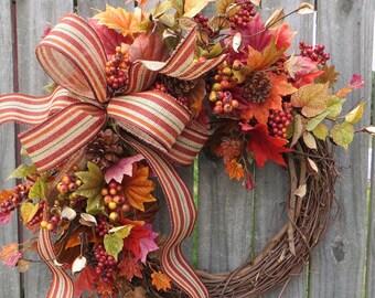 Fall Wreath for Door, Fall Burlap Wreath, Fall Burlap wreath for door, Rich fall colors, harvest wreath, Fall wedding wreath, hornshandmade