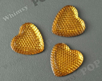 Kawaii Yellow Ice Dazzling Heart Resin Flatback Deco Cabochons, Heart Cabochons, Sparkle Hearts, 24mm (R8-263)