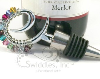 SALE! Beaded Wine Stopper made with Swarovski Crystals, birthstone colors, Hostess Gift, wine lover, Gifts under 20 Dollars