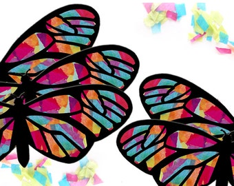 Kids craft butterfly stained glass suncatcher kit with birds for Butterfly stained glass craft