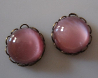Vintage Pink Moonstone Cabochons in 11mm Ruffled Brass Ox Settings QTY - 3 LAST LOT