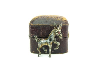 Animal Brooch. Enamel Sterling Silver Donkey. Small Figural Brooch. Rhinestone, Marcasites. Made In Germany. Vintage 1960s Retro Jewelry.
