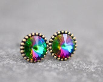 Jewel Tone Rainbow Studs Organic Edge Swarovski Crystal Rainbow Earrings Pink Purple Green Multi Color Bride Earring Stud Earrings Mashugana