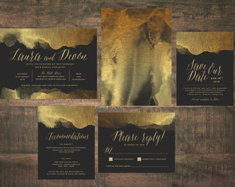 Gold and Black Wedding Invitation Suite (Set of 25) | Metallic Invitations, Gold Invites, Wedding Invitation Set, Gold