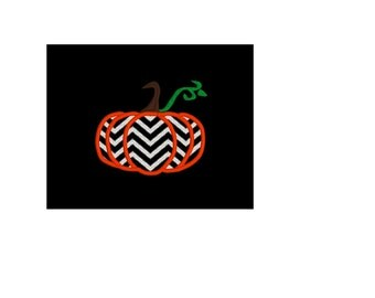 Pumpkin Embroidery design with chevron embroidery PLUS Pumpkin Applique design with chevron embroidery 3 sizes in 8 embroidery file types