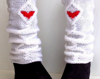Boot Cuffs White Heart Socks Heart Leggings Red Leg Warmers Knit Knee Sock Winter Accessories Gifts For Her Valentines Day senoaccessory