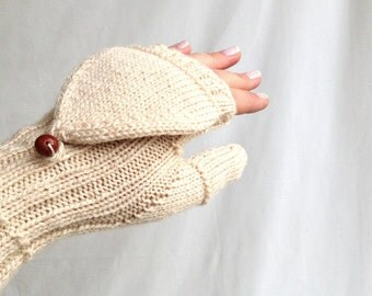 Cream Convertible Mittens Fingerless Gloves Winter Gloves Winter Accessories Gifts for her Christmas Gifts Valentines Day senoaccessory
