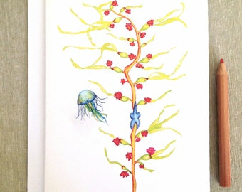SEA KELP and JELLYFISH - Merci Beaucoup - Star Fish, thank you, thanks, thinking of you Greeting Card