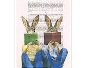 Rabbit Bunny Print Illustration Drawing, Digital Painting, wedding gift, Alice in Wonderland, book art, by Coco de Paris: Reading Rabbits