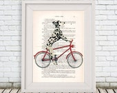 Dalmatian on bicycle, dalmatian art print, dalmatian illustration, black, dalmatian print, dalmatian poster, dalmatian art, coco de paris