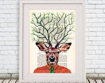 Deer Artwork, Deer Print, Antlers Print, Tree antlers, poetic deer, deer illustration, whymsical deer, stag print: Deer Tree