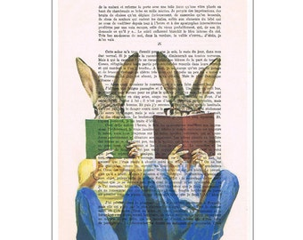 Rabbit Bunny Print Illustration Drawing, Digital Painting, wedding gift, Alice in Wonderland, book art, by Coco de Paris: Reading Rabbits
