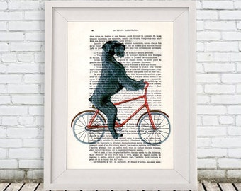 Giant Schnauzer Print, Poster Illustration Acrylic Painting Animal Portrait  Decor Wall Hanging Wall Art Drawing, Dog on Bicycle