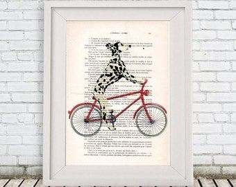 Dalmatian on bicycle, dalmatian art print, dalmatian illustration, black, dalmatian print, dalmatian poster, dalmatian art, coco de paris