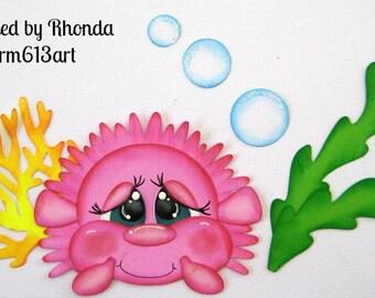 SEA BABY blowfish paper piecing scrapbook page die cut by Rhonda rm613art