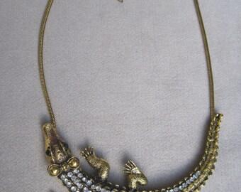 Fascinating Antique Gold Metal Sparkling Crocodile Necklace