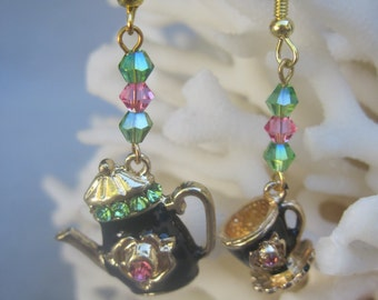 Black Tea Pot and Cup with Pink n Green Crystals Earrings