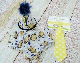 Boys First Birthday Outfit Cake Smash Diaper Cover Tie Party Hat in Navy and Yellow Little Monkeys and Polka Dots