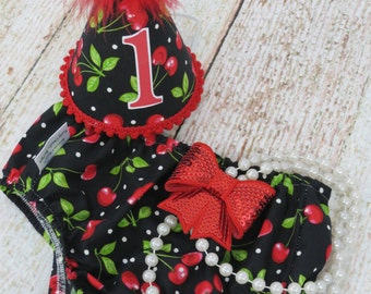 Girls First Birthday Cake Smash Outfit With Diaper Cover Party Hat & Necklace in Retro Cherry Print