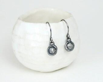Rough diamond earrings, raw diamond earrings, uncut diamond earrings, rustic diamond earrings