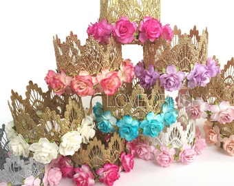 Lace Crown || Design your own FLOWER crown ||choose crown + flower color ||MINI crown|| choose ONE|| firmest lace crowns on the market