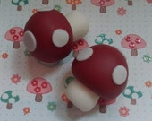 Red and White Fondant Mushrooms - Edible Cake and Cupcake Toppers - Set of 12