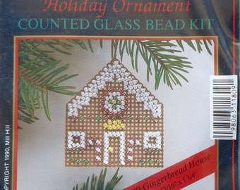 Mill Hill Beads Holiday Ornament GINGERBREAD HOUSE Counted Glass Bead Ornament Kit