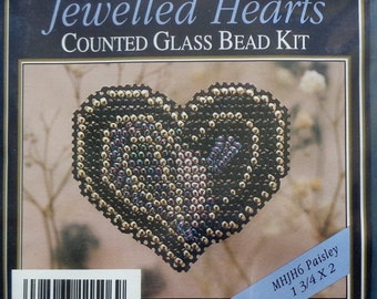 Mill Hill Beads Counted Glass Bead Kit PAISLEY Jewelled Hearts