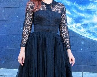 1950s SILK LACE DRESS midi full circle pinup strapless black lbd by mr mort // size xs / small