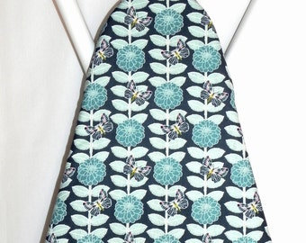 Ironing Board Cover -  Teal blue and aqua butterflies and flowers - Laundry and Housewares