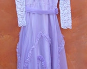 Vintage 1960s 1970s Girl's Lavender Purple Party Formal Maxi Dress. Victorian Edwardian Ruffles. white lace. high collar ruffles Size 7 8 10