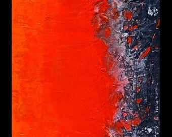 Firingline, Small Original Abstract Modern Art Painting, Fall colors,  NYC Artist
