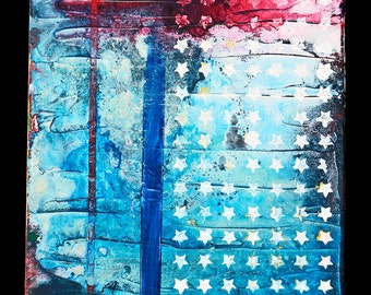 The Age of America, Small political painting, American flag art, modern organic patriotic original painting, NYC Artist