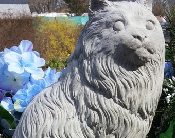 Concrete LONG-HAIRED CAT Statue