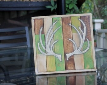 Handpainted Distressed Antler Sign