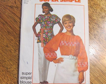 1970's Super Simple BOHO Peasant Blouse with Short or Long Sleeves - Size Medium (12 - 14) - VINTAGE Sewing Pattern Simplicity 9231