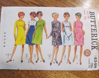 MOD 1960s A-Line Dress with Unique Seaming - High Fashion Spacey Style - CHOOSE Your Size (12 or 14) - VINTAGE Sewing Pattern Butterick 4348